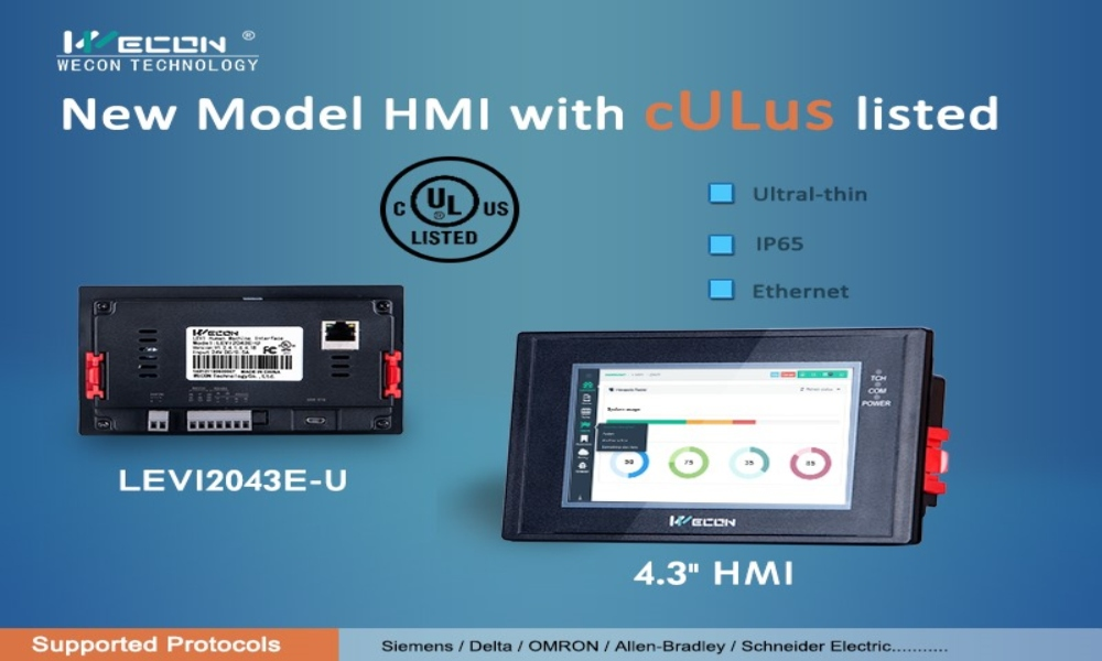 New Model HMI Ultra thin, IP65, Ethernet - Wecon
