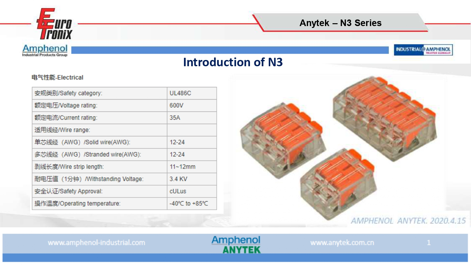 New N3 Series from Amphenol Anytek for lighting  and Smart Home applications